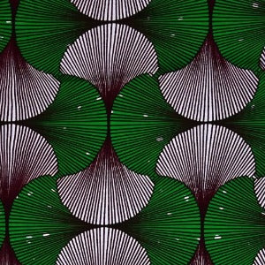 Green & White Fans Ankara Fabric