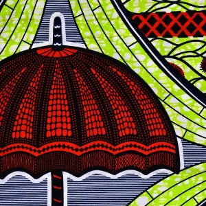 Red Umbrella Ankara Fabric
