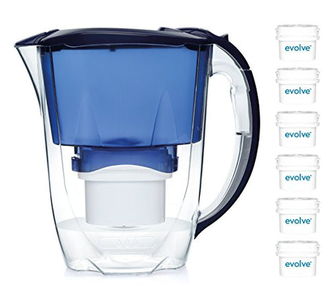 b8a9e9034fd Aqua Optima 12 month annual pack - Oria Water filter jug with 6 x 60 day  Evolve water filter cartridges - Blue