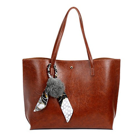 39b73d6302 KAMIERFA Vintage Oil PU Leather Tote Bags for Women Ladies Elegant Shoulder  Bags with Pompom