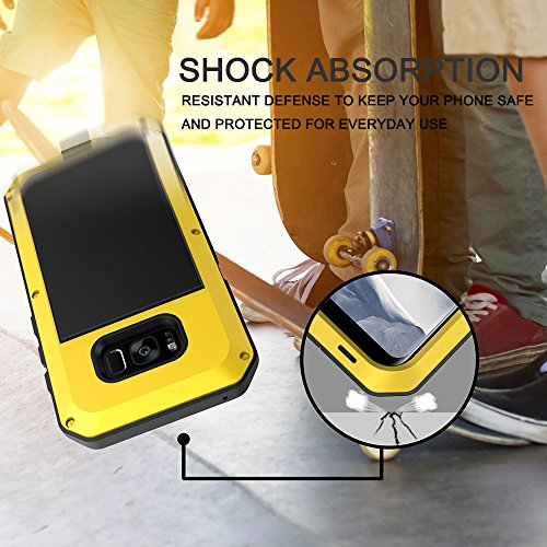 buy popular 01dc1 24a8e Seacosmo Galaxy S8 Case, Military Rugged Heavy Duty Aluminum Shockproof  Dual Layer Bumper Case for Samsung Galaxy S8, Yellow