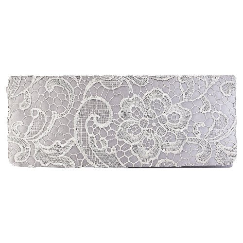 e1157ebf0ea Womens Satin Ladies Floral Lace Small Bridal Party Evening Clutch Bag  Handbag