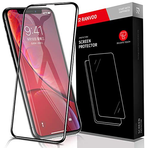 RANVOO for iPhone XR Screen Protector, Premium 9H Tempered Glass Screen  Protector for iPhone XR 6 1 Full Coverage, Easy Installation Frame, Edge to