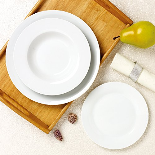 ANSIO,12-Piece White Porcelain Dinnerware Combination Set with Dinner  Plates/Dessert Plates/Soup Plates, Service for 4 Person- A Perfect Gift for