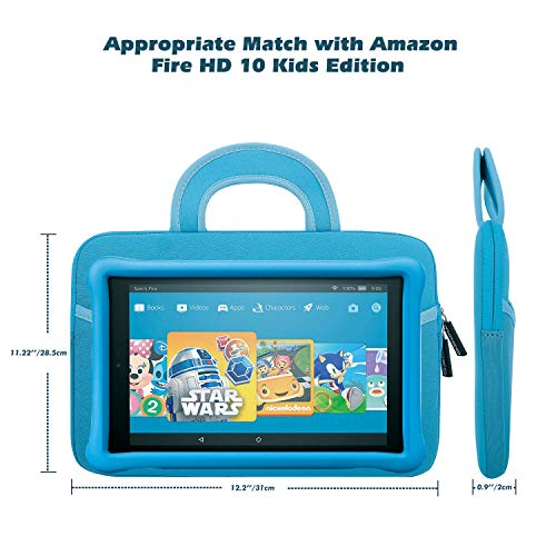 45f6c25607e7b Fire HD 10 Kids Edition Sleeve Bag, [Shock-proof] Zipper Handle Pouch  Portable Neoprene Case Cover for Amazon Fire HD 10 Kids Edition 10.1 2018,  ...