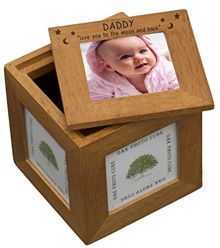 DADDY LOVE YOU TO THE MOON AND BACK STARS Natural Oak Wooden MULTI PHOTO