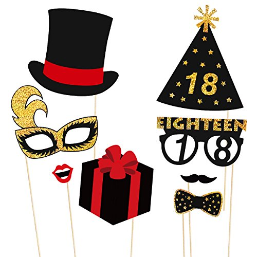 LUOEM 18th Birthday Photo Booth Props Glitter Party Accessories Supplies NO DIY REQUIREDPack