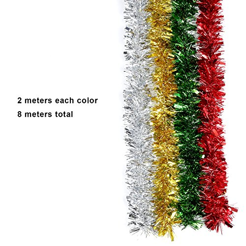 Christmas Tinsel Garland.4 Pieces Christmas Tinsel Shiny Tinsel Garland For Holiday Decoration 4 Colors 8 Meters Totally