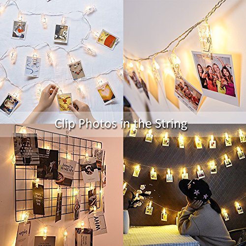 designer fashion a2ba1 343aa Ustellar Photo Peg Lights Battery Operated, 40 Clips 5.5M, 2 Modes, LED  Photo Clip String Fairy Lights, Christmas Cards Hanger, Warm White, for ...