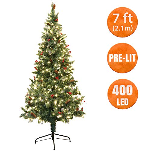 7 Ft Christmas Tree Prelit.Ansio Christmas Tree Pre Lit 400 Led 7 Ft Artificial Scandinavian Blue Spruce With Berries And Pine Cones 100 Virgin Fire Retardant Pvc Tips