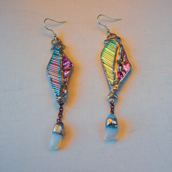Iridescent Drop Dangles w/ Opalite