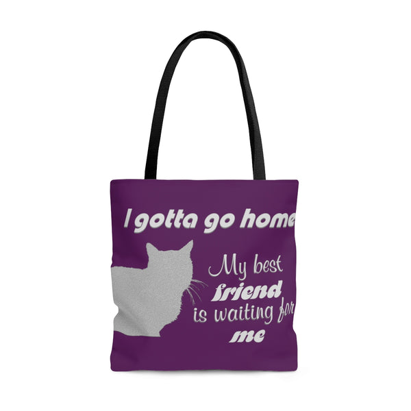 Gotta go home - cat waiting - cat lovers tote bag, all-over print