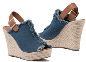 569ea39bd5a Denim woven espadrille wedges – The Stompin Donkey Boutique