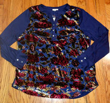 Load image into Gallery viewer, Floral Burnout Panel Long Sleeve Top