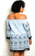 Load image into Gallery viewer, Velzera embroidered blue fringe dress