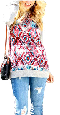 Geometric Print Contrast Long Sleeve Casual Top