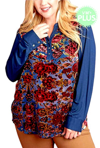 Floral Burnout Panel Long Sleeve Top
