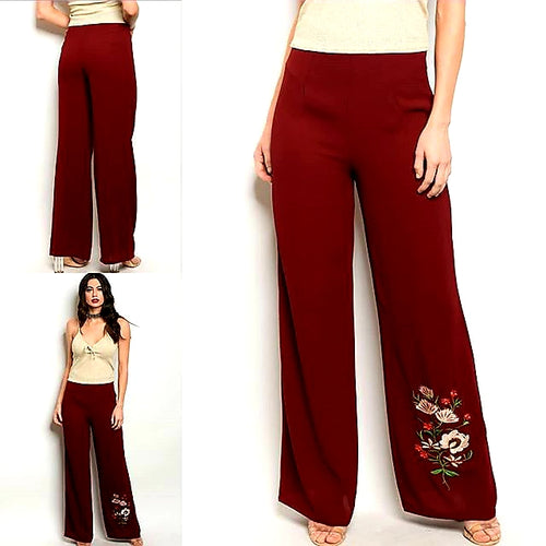 Lined relaxed fit palazzo pants with floral embroidery