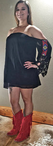 Long bell sleeve cold shoulder embroidered tunic dress