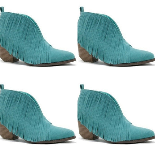 Turquoise Fringe booties
