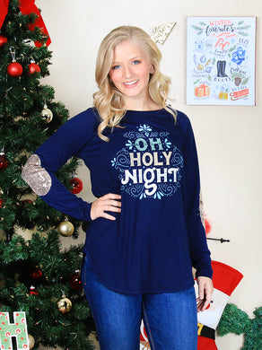Oh Holy Night Navy  Graphic Top