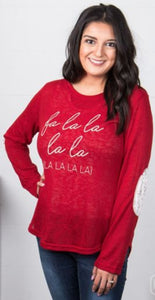 Fa La La Red Sweater With Ivory Elbow Patches
