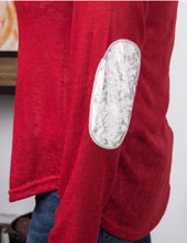 Load image into Gallery viewer, Fa La La Red Sweater With Ivory Elbow Patches