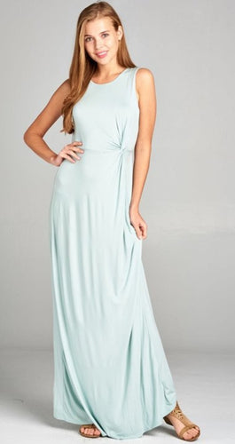 Solid Rayon Modal Sleeveless Maxi Dress with Side Knot Draped Details