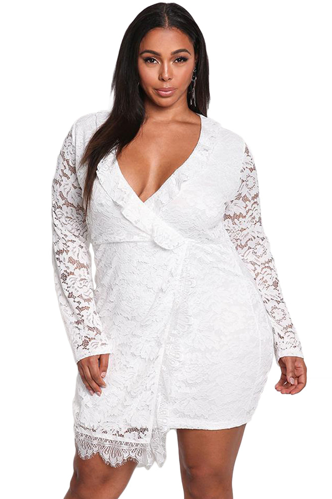 White Plus Size Lace Faux Wrap Ruffle Dress