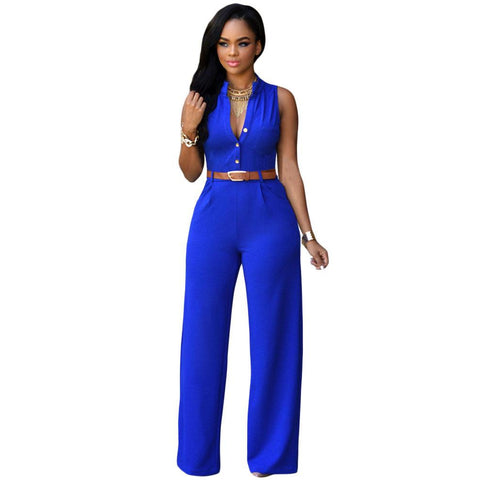 Royal Blue Belted Wide Leg Jumpsuit