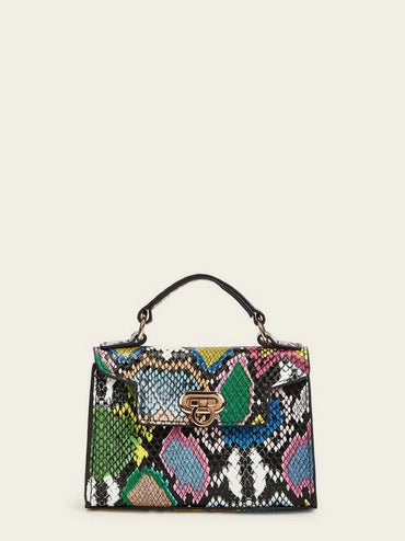 Snakeskin Flap Satchel Bag With Chain Strap