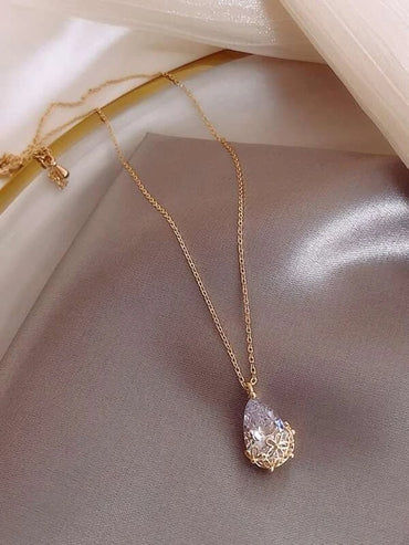 Faux Teardrop Crystal Charm Necklace