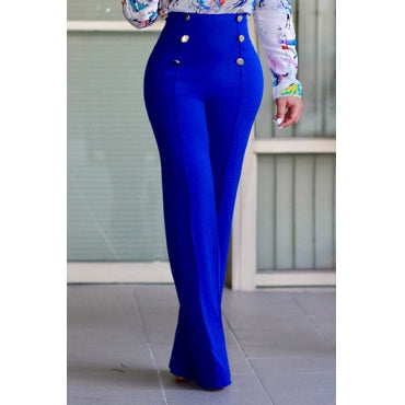 High Waist Double-breasted Design Blue Polyester Pants - Desireez