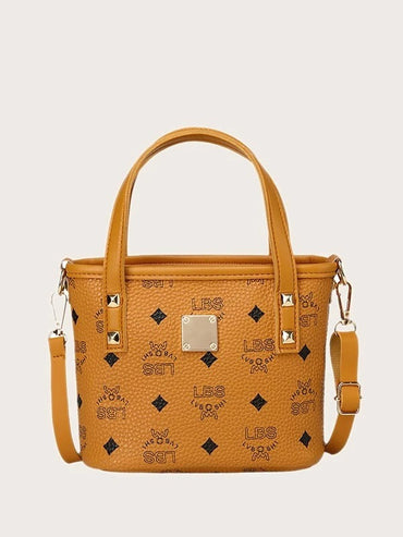 Letter Graphic Satchel Bag