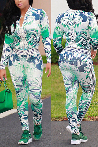 Long Sleeves Printed Green Healthy Fabric Casual Two-piece Pants Set - Desireez