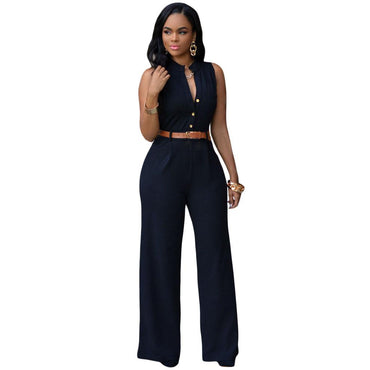 Black Belted Wide Leg Jumpsuit - Desireez