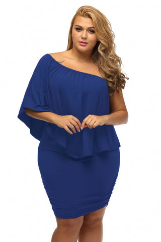 Plus Size Multiple Dressing Layered Blue Mini Poncho Dress