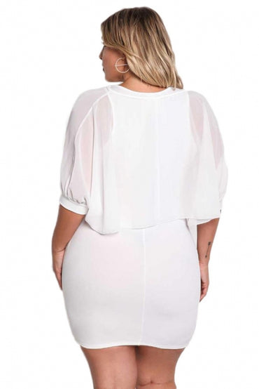 White Plus Size Chiffon Layered Bodycon Dress