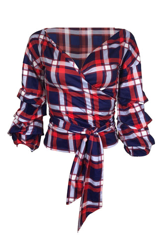 V Neck Dew Shoulder Plaids Red/Blue/White Shirt