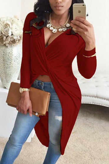 V Neck Asymmetrical Wine Red Blending Shirts
