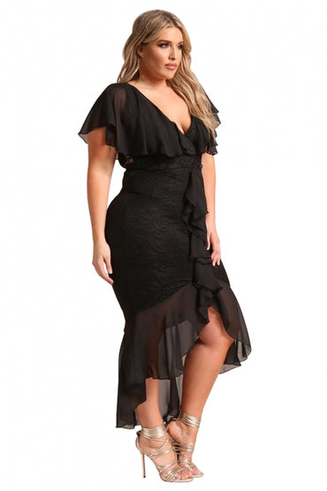 Black Plus Size Chiffon Lace Waterfall Ruffle Midi Dress