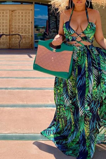 Halter Neck Hollow-out Green Maxi Dress