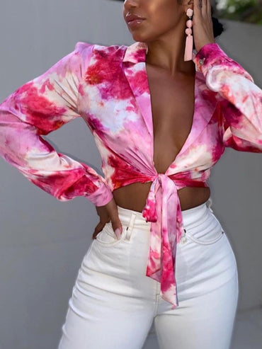 Turndown Collar Tie-dye Rose Red Blouse