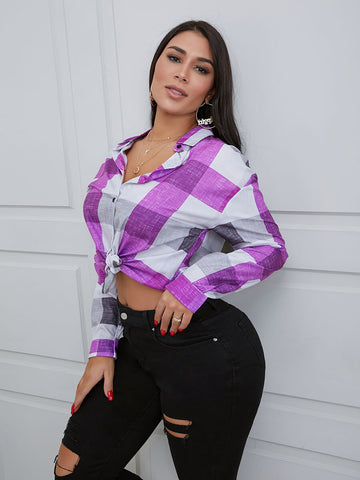 Turndown Collar Plaid Print Purple Blouse