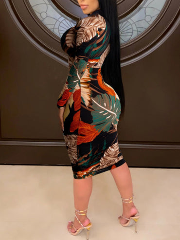 Leaf Print Zipper Design Khaki Knee Length Plus Size Dress