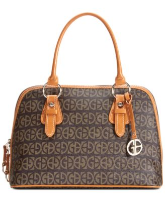 Giani Bernini Handbag, Signature Block Dome Brown - Desireez