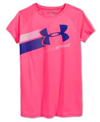 Under Armour Girls Fast Lane T-Shirt Pink and Purple