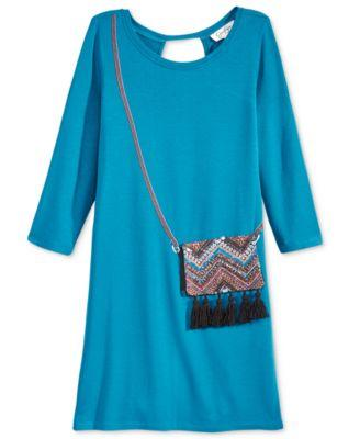 Jessica Simpson Enya Long-Sleeve Purse Dress Celestial - Desireez
