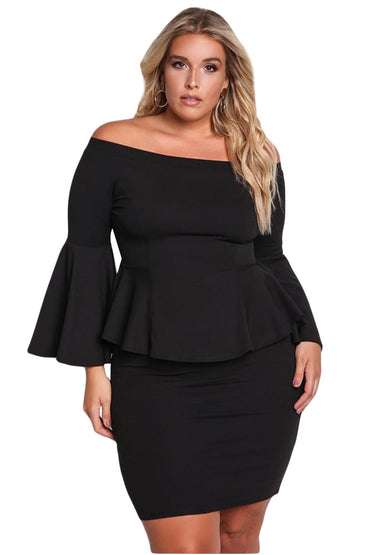 Black Off The Shoulder Bell Sleeves Peplum Plus Dress - Desireez