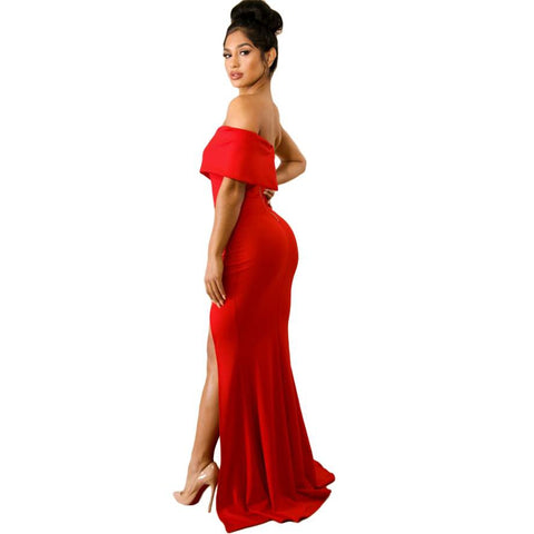 Red Off The Shoulder One Sleeve Slit Maxi Party Prom Dress